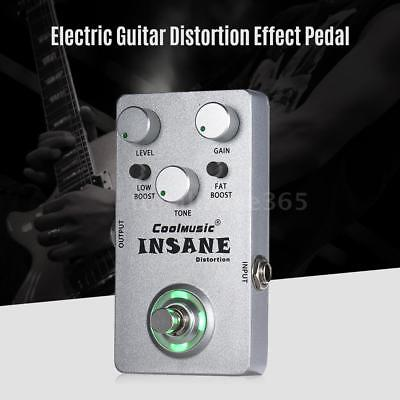 Mini Electric Guitar Distortion Effect Pedal True Bypass Full Metal Silver D6L1