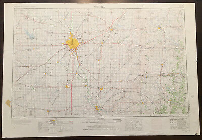 Original Vintage 1966 Wichita Kansas Topo Map USGS 1:250,000
