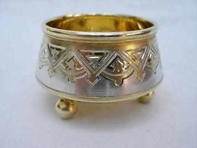 Superb Two Tone Hallmarked Russian Antique Solid Sterling Silver Salt.