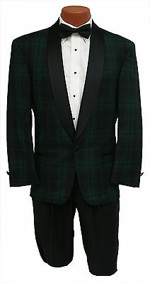 Vintage Mens 37R Black Watch Plaid Navy & Green 1 Btn Shawl Tuxedo Jacket
