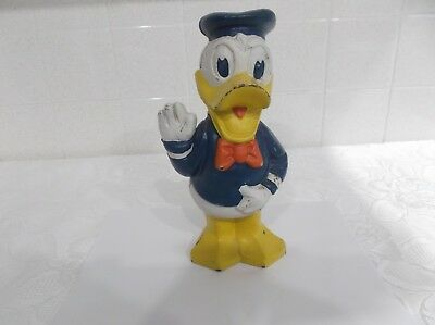 Vintage CAST IRON Disney's Donald Duck Character Painted Figurine Coin Bank 9.5""