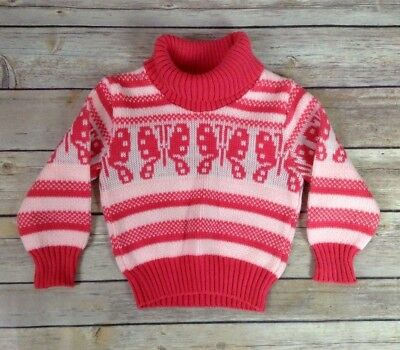 Vintage 1980s Baby Infant Girls Sweater Pink Butterfly Turtleneck Acrylic 12 Mo
