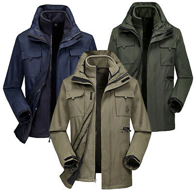 3 In 1 Outdoor Ski Hiking Jackets Men Winter Fleece Coat Windbreaker Warm Parka