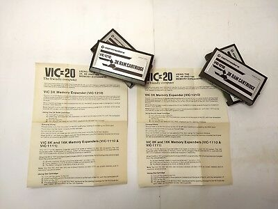 Lot Of 4 - Commodore Vic 20 - Official 3K Ram Expansion Cartridge Vic-1210