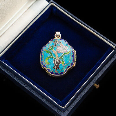 Antique Vintage Art Deco Sterling Silver Plated Chinese Cloisonne Enamel Pendant