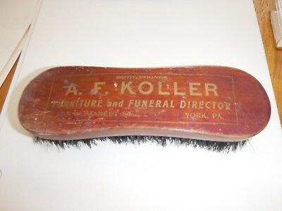 Vintage Advertising Shoe Brush  A.F. KOLLER FURNITURE and FUNERAL DIRECTOR