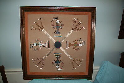 """ORIGINAL Navajo Sand Painting 29"""" x 29"""" Dianne Thomas  - Framed and Matted"""