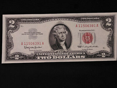 1963 $2 Dollar Note RED SEAL **EXTREMELY CRISP, TOTALLY UNCIRCULATED** 391