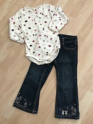 Girls 3/3T Gymboree Penguin Chalet Jeans Winter Snowflake Top Cocoa Mittens