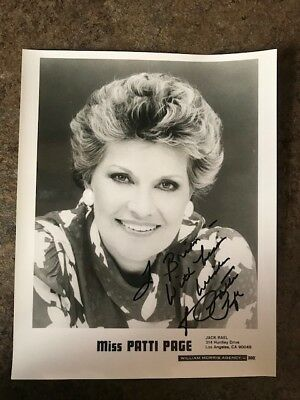 8x10 signed and inscribed photo a singer MISS PATTI PAGE
