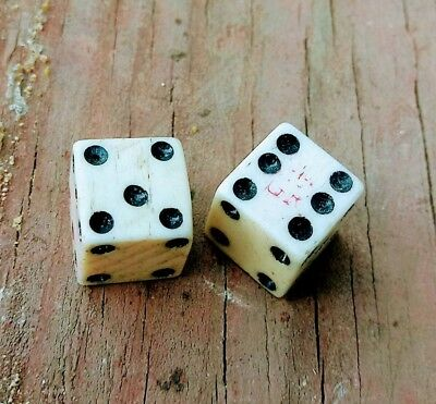 Pair of 1765 Stamp tax act marked 1/2 inch Bone Dice Revolutionary War