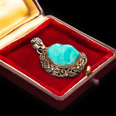 """Antique Vintage Art Deco Sterling Silver Chinese Turquoise Filigree 1.6"""" Pendant"""
