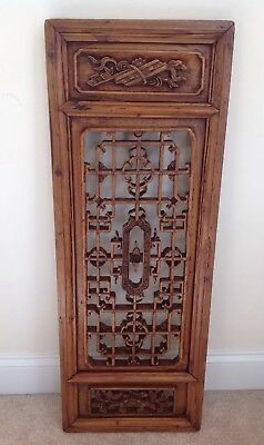 """Antique Chinese Hand Carved Wooden Window Screen Shutter Panel Wall Mounted 36""""T"""
