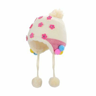 Lz236 Baby Flower Imitation Cashmere Ear Cap Baby Cute Warm Knitted Hat MB