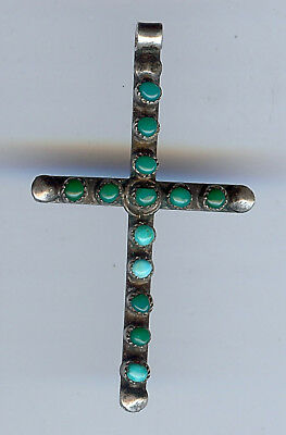 Vintage Zuni Indian Silver Multi Shades Of Blue & Green Turquoise Cross Pendant