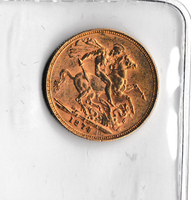 1874 'm' One Gold Sovereign  Young Head Queen Victoria   Nice Coin