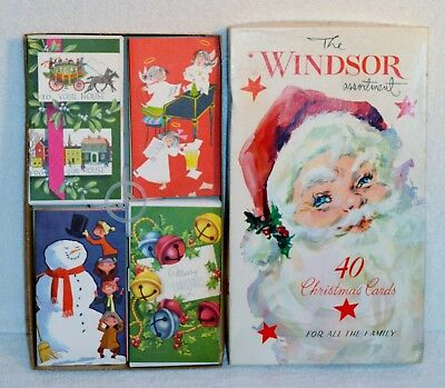 Vintage Christmas Cards Box Of 40 Windsor Collection By Hawthorne Sommerfield