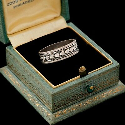 Antique Vintage Art Deco Sterling Silver Sweetheart 6.1 mm Wide Band Ring S 7.25
