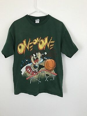 Looney Tunes Vintage 90s Taz One On One Basketball T-Shirt Large 1995 USA RARE
