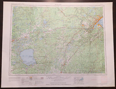 Original Vintage 1963 Duluth Minnesota Topo Map USGS 1:250,000 Topographical