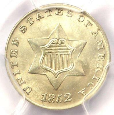 1852 Three Cent Silver Piece 3CS - PCGS Uncirculated Detail (MS UNC) - Rare Coin