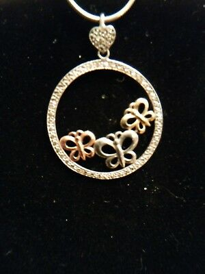Sterling Silver 925 10k Rose & Yellow Gold Butterfly Pendant on 18 inch necklace