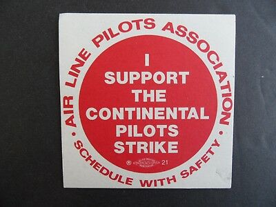 Vintage CONTINENTAL AIRLINES Pilots Strike window decal sticker...1970's