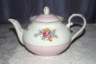 Rare Vtg Royal Grafton pink & white floral Teapot, Bone China, Very Pretty