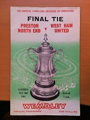 1964 FA Cup Final Programme Preston North End v West Ham Utd