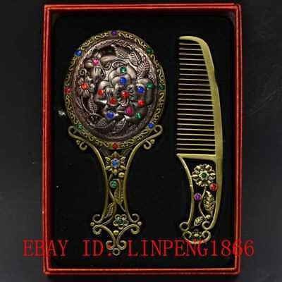 Chinese Antique Brass Hollow Carved Peony Makeup Mirror & Comb Set Gift Box L28