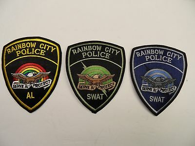 3 RAINBOW CITY, AL - POLICE & SWAT patches....NEW!