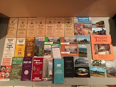 Railroad Timetable Lot 1960's Railroad Brochures Book Postcards Nice Mixed Lot