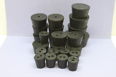 Lot of 24 Assorted Solid Rubber Laboratory Stoppers - Most are 1-Hole or 2-Hole