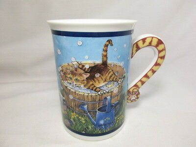 Vintage Bath Time Coffee Mug Cup Comical Cats Porcelain Collection Kitty Mouse