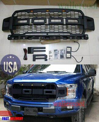 Black NEW LED 2018 F150 Raptor Style Front Grille Upper Grill For Ford F-150 18