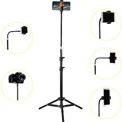 Retractable Adjustable Smart Phone Tall Tripod Stand Holder with Gooseneck Clamp