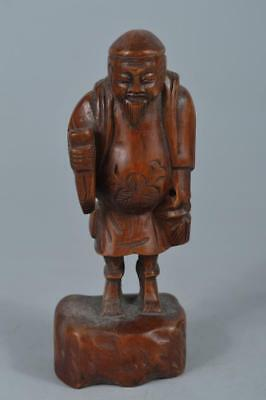 R692: Japanese Old Wood carving DOLL Statue sculpture Ornament Figurines Okimono