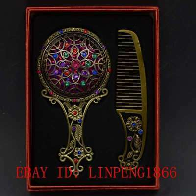 Chinese Antique Brass Hollow Carved  Makeup Mirror & Comb Set Gift Box L19
