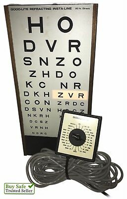Vintage GOOD LITE  20ft Visual Acuity Eye Chart Cabinet Light includes Remote