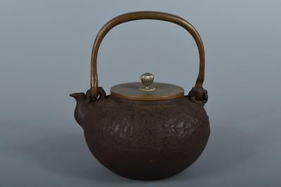 R913: Japanese XF Old Iron TEA KETTLE Teapot Tetsubin, Kibundo made