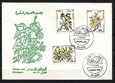 Algeria, Scott cat. 979-981. Flowering Trees issue. First day cover