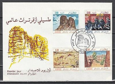 Algeria, Scott cat. 723-726. Tourism issue. Early Wall Art. First day cover