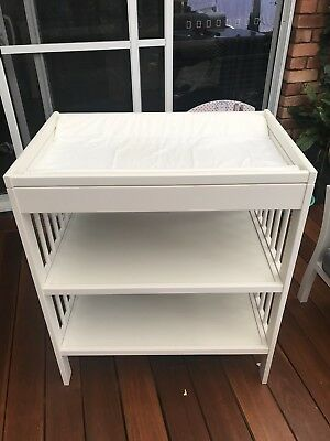 White Ikea Baby Change Table with shelves