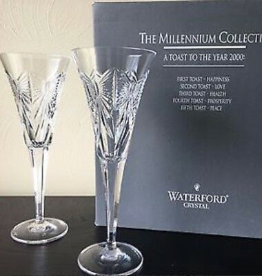 Waterford Crystal  Millennium Collection Champagne Flute Pair-Love - ❤️ design