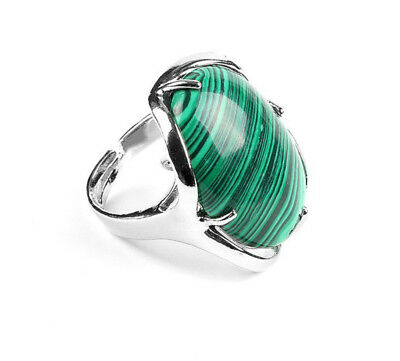 R085F Elegant Cocktail Ring Silve Plated with Malachite Green Oval Adjustable
