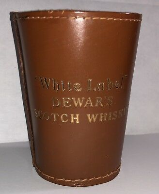 1930's White Label Dewar's Scotch Whisky Dice Leather Dice Throwing Cup