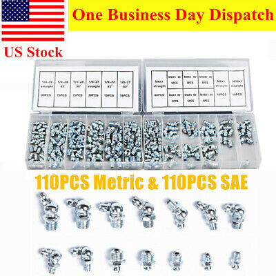 220 Pc Hydraulic Lubrication Grease Fittings Assortment Zerk Fitting Metric SAE