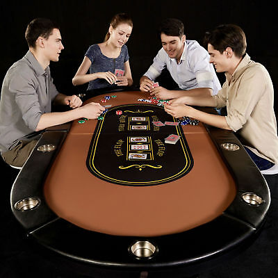 Poker Table 10 Player Texas Holdem Game Folding Casino Legs Cup Holders Metal