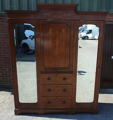 Fine quality Edwardian antique mahognay inlaid fitted triple wardrobe armoire