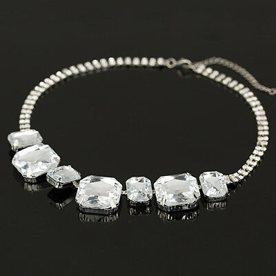 2019 Hot Sparkling Big Silver Plated Crystal Square Gem Bead Necklace for Women